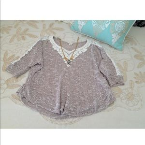 Anthropologie Meadow Rue M lace pullover sweater